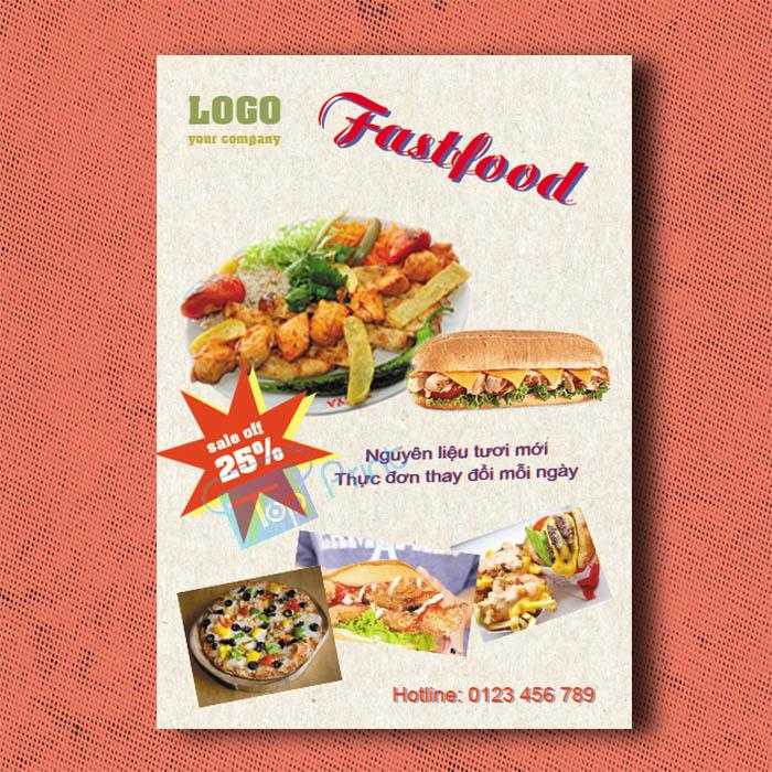 tờ rơi quảng cáo tiệm bánh fastfood